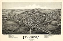 Pennsboro 1899 Bird's Eye View 17x25, Pennsboro 1899 Bird's Eye View